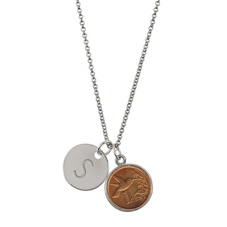 American Coin Treasures Hummingbird Coin with Personalized Disc Charm Silvertone Pendant Necklace