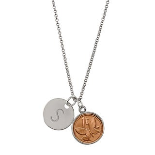 American Coin Treasures Butterfly Coin with Personalized Disc Charm Silvertone Pendant Necklace