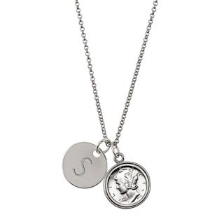 American Coin Treasures Silver Mercury Dime with Personalized Disc Charm Silvertone Coin Pendant Necklace