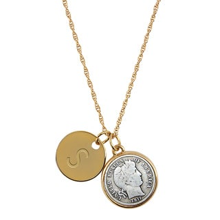 American Coin Treasures Silver Barber Dime with Personalized Disc Charm Goldtone Coin Pendant Necklace