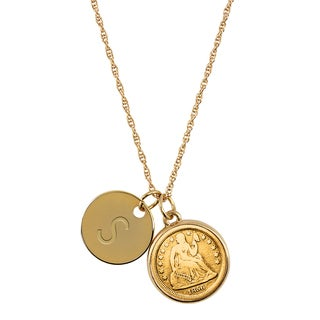 American Coin Treasures Gold-Layered Silver Seated Liberty Dime with Personalized Disc Charm Goldtone Coin Pendant Necklace