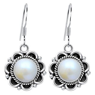 Orchid Jewelry 5 Carat Cultured Pearl Sterling Silver Dangle Earrings