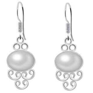 Orchid Jewelry 8 Carat Cultured Pearl Sterling Silver Handmade Earrings