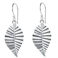 Essence Jewelry Sterling Silver Textured Leaf Dangle Earrings