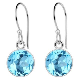 Orchid Jewelry 6 Carat Blue Topaz 925 Sterling Silver Earrings