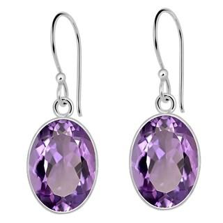 Orchid Jewelry 5 4/7 Carat Amethyst 925 Sterling Silver Designer Earrings