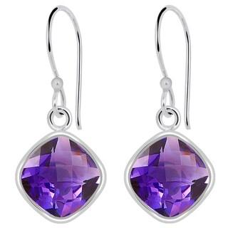 Orchid Jewelry 3 4/5 Carat Amethyst 925 Sterling Silver Earrings