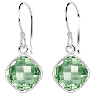 Orchid Jewelry 925 Sterling Silver 4 1/4 Carat Green Amethyst Womens Earrings