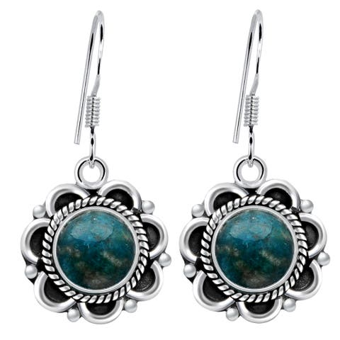 Amazonite Sterling Silver Round Dangle Earrings by Orchid Jewelry