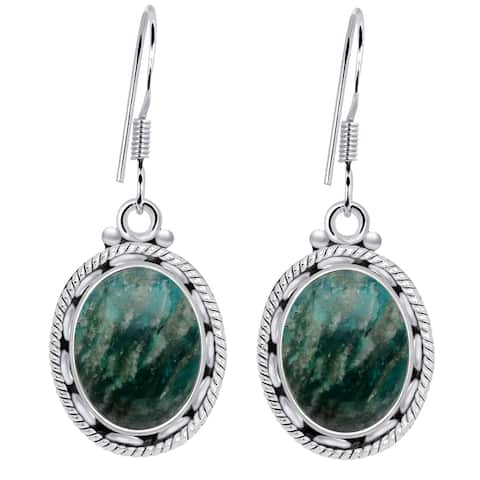Amazonite Sterling Silver Oval Dangle Earrings by Orchid Jewelry