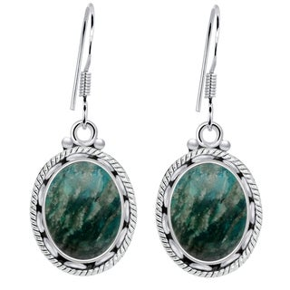 Orchid Jewelry 925 Sterling Silver 8 Carat Amazonite Oval Dangle Earrings