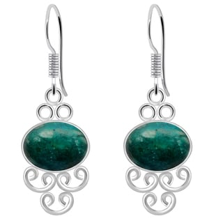 Orchid Jewelry 925 Sterling Silver 8 Carat Amazonite Wedding Earrings