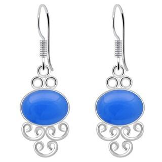 8.0 Carat Blue Chalcedony Sterling Silver Handmade Dangle Earrings Orchid Jewelry