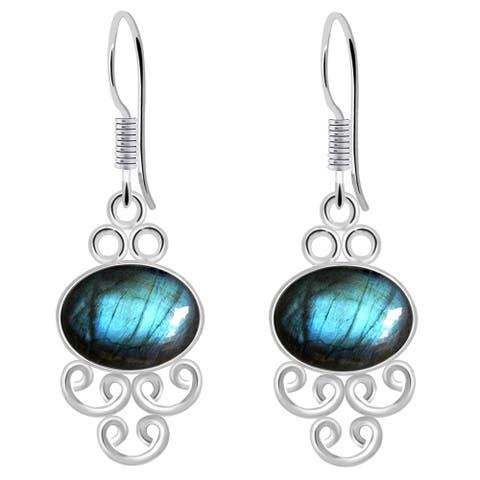 Labradorite Sterling Silver Oval Dangle Earrings by Orchid Jewelry