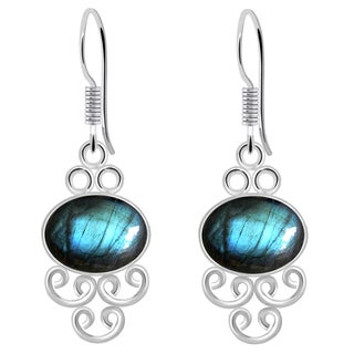 Orchid Jewelry Sterling Silver 8 1/5 Carat Labradorite Dangle Earrings