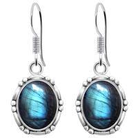 Orchid Jewelry 925 Sterling Silver 8 1/3 Carat Labradorite Dangle Earrings