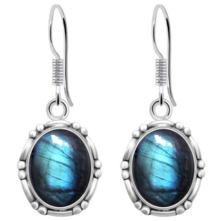 Orchid Jewelry 925 Sterling Silver 8 1/3 Carat Labradorite Dangle Earrings
