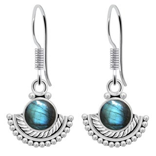 Orchid Jewelry 2 1/5 Carat Labradorite 925 Sterling Silver Wedding Earrings