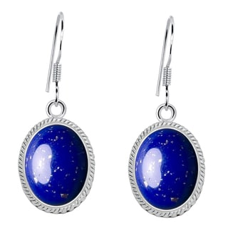 Orchid Jewelry 8 2/5 Carat Lapis Lazuli 925 Sterling Silver Cabochon Earrings