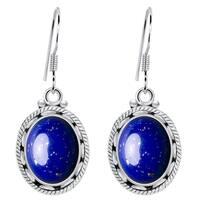 Orchid Jewelry 925 Sterling Silver 8 Carat Lapis Lazuli Womens Earrings