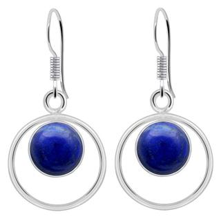 Orchid Jewelry 4 1/5 Carat Lapis 925 Sterling Silver Dangle Earrings