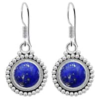 Orchid Jewelry 4 1/5 Carat Lapis 925 Sterling Silver Dangle Earrings