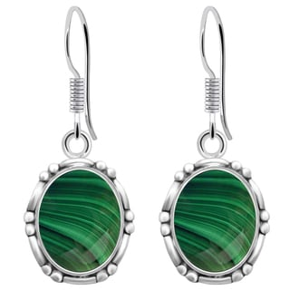 Orchid Jewelry 8 1/5 Carat Malachite 925 Sterling Silver Designer Earrings