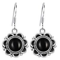 Orchid Jewelry 4 4/5 Carat Black Onyx 925 Sterling Silver Oxidized Handmade Earrings