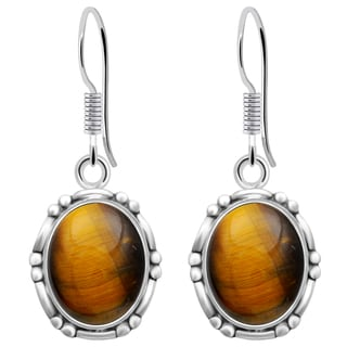 Orchid Jewelry 8 Carat Tiger Eye 925 Sterling Silver Fashion Earrings