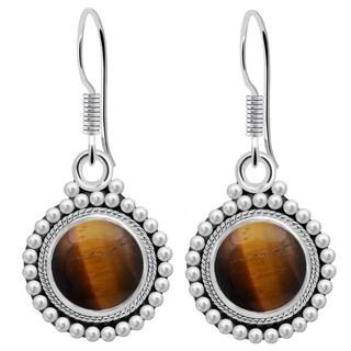 Orchid Jewelry 4 1/5 Carat Tiger Eye 925 Sterling Silver Handmade Earrings