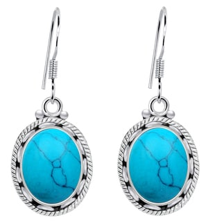 Orchid Jewelry 8 1/5 Carat Turquoise 925 Sterling Silver Dangle Earrings
