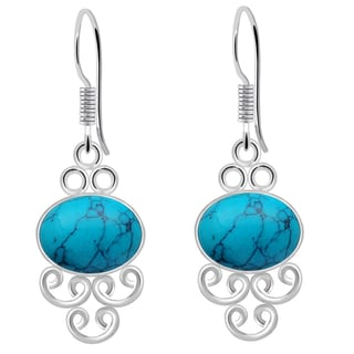 Orchid Jewelry 925 Sterling Silver 8 Carat Turquoise Hook Earrings