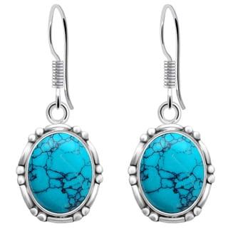 Orchid Jewelry 7 3/5 Carat Turquoise 925 Sterling Silver Bezel Earrings