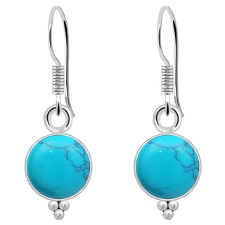 Orchid Jewelry 925 Sterling Silver 3 8/9 Carat Turquoise Womens Earrings