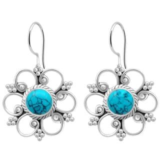 Orchid Jewelry 925 Sterling Silver 1 8/9 Carat Turquoise Flower Dangle Earrings