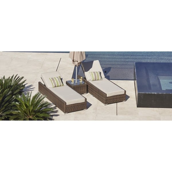 Remarkable Shop Vida Brown Wicker Outdoor Patio Chaise Lounger Chairs Bralicious Painted Fabric Chair Ideas Braliciousco