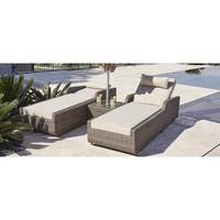 Alisa 3-piece Patio Wicker Adjustable Chaise Lounge Set with Cushions and Side Table