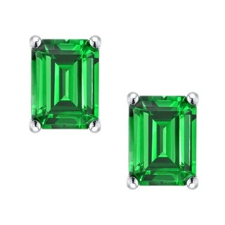 Sterling Silver 3.62ct Created Emerald Stud Earrings