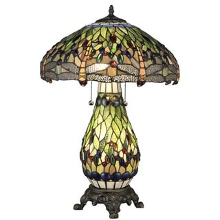 Tiffany Style Yellow Dragonfly Lighted Base Table Lamp