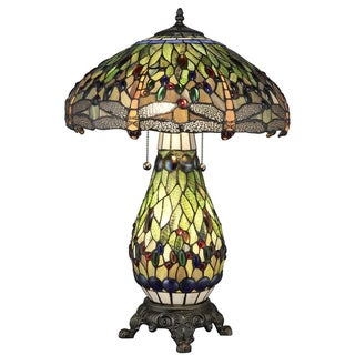 Shop Tiffany Style Yellow Dragonfly Lighted Base Table Lamp On