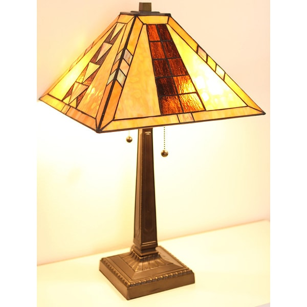 tiffany style mission table lamp free shipping today. Black Bedroom Furniture Sets. Home Design Ideas