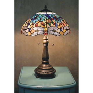 Tiffany Style Yellow Dragonfly Table Lamp
