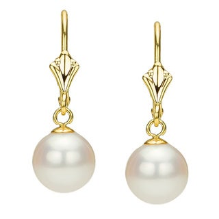 DaVonna 14k Yellow Gold White Freshwater Pearl Leverback Earring (6-11 mm)