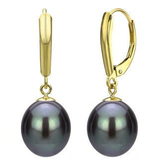 DaVonna 14k Gold Black Cultured FW Pearl Leverback Earrings (6-11 mm) (5 options available)