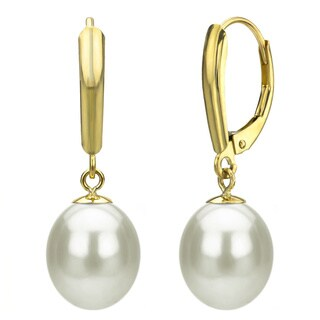 DaVonna14k Yellow Gold White Freshwater Pearl Leverback Earrings