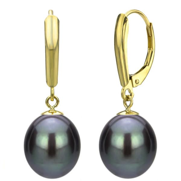 DaVonna 14k Gold Cultured Black FW Pearl Leverback Earrings (8-9 mm)