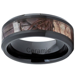 Black Ceramic Hunting Camo Ring (8mm)