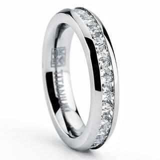 Oliveti Women's 4MM High Polish Princess Cut Ladies Eternity Titanium Ring Wedding CZ Sizes 4-11