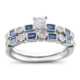 14k White Gold 3/4ct TGW White Diamond and Blue Sapphire Bridal Ring Set (H-I, I1)