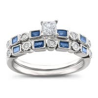14k White Gold 3/4ct TGW White Diamond and Blue Sapphire Bridal Set
